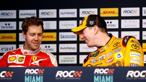 Sebastian Vettel (L) and Kyle Busch (R) seen during a Press Conference at the 2017 Race of Champions at Marlins Park in Miami. (Photo: Alexander Trienitz/LAT Photographic)