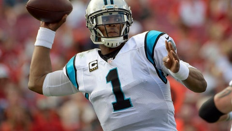 Carolina Panthers quarterback Cam Newton (1) throws an interception to Tampa Bay Buccaneers cornerback Brent Grimes (24) during the third quarter of an NFL football game Sunday, Jan. 1, 2017, in Tampa, Fla. (AP Photo/Phelan Ebenhack)