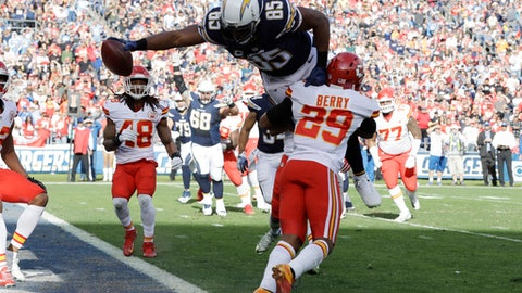 San Diego Chargers tight end Antonio Gates, above, scores a touchdown over Kansas City Chiefs strong safety Eric Berry (29) during the first half of an NFL football game Sunday, Jan. 1, 2017, in San Diego. The touchdown, his 111th, ties an NFL record for touchdowns by a tight end. (AP Photo/Alex Gallardo)