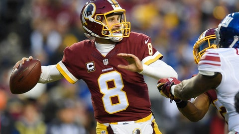 Washington Redskins quarterback Kirk Cousins (8) passes during the first half of an NFL football game against the New York Giants in Landover, Md., Sunday, Jan. 1, 2017. (AP Photo/Nick Wass)