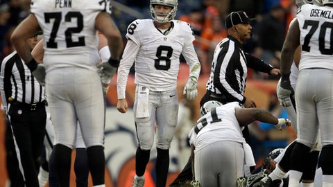 Oakland Raiders quarterback Connor Cook holds his arms at his side as he heads to the sideline after being tackled during the second half of an NFL football game against the Denver Broncos, Sunday, Jan. 1, 2017, in Denver. (AP Photo/Joe Mahoney)