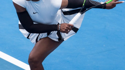 United States' Serena Williams serves during her first round match against Pauline Parmentier of France at the ASB Classic tennis tournament in Auckland, New Zealand, Tuesday, Jan 3, 2017. Williams won in straight sets 6-3, 6-4. (Jason Oxenham/New Zealand Herald via AP)