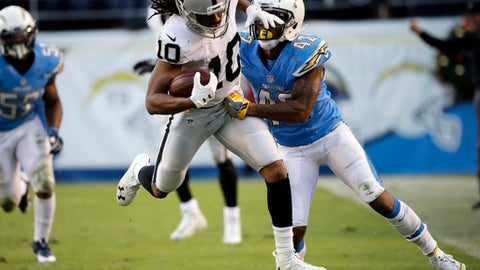 FILE - In this Dec. 18, 2016, file photo, Oakland Raiders wide receiver Seth Roberts (10) moves past San Diego Chargers cornerback Trevor Williams during the second half of an NFL football game in San Diego. The Raiders feature 19 players who entered the league as undrafted free agents, including key contributors like possible playoff starting quarterback Matt McGloin, running back Jalen Richard, receiver Seth Roberts and left tackle Donald Penn.  (AP Photo/Alex Gallardo, File)