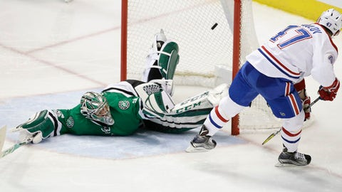 Montreal Canadiens right wing Alexander Radulov (47) scores a goal against Dallas Stars goalie Kari Lehtonen (32) during the third period of an NHL hockey game in Dallas, Wednesday, Jan. 4, 2017. The Canadiens won 4-3 in overtime. (AP Photo/LM Otero)