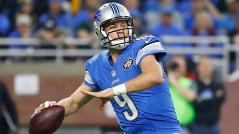 FILE - In this Jan. 1, 2017, file photo, Detroit Lions quarterback Matthew Stafford throws during the first half of an NFL football game against the Green Bay Packers, in Detroit. The Lions play against the Seattle Seahawks in a Wild Card playoff game on Saturday, Jan. 7.(AP Photo/Paul Sancya, File)