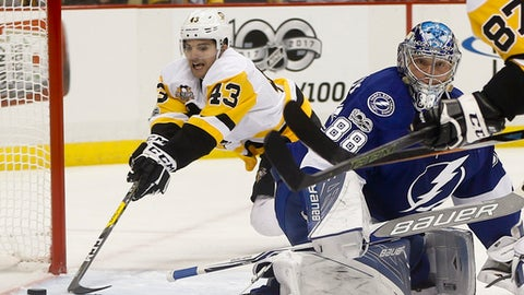 Pittsburgh Penguins' Conor Sheary (43) puts the puck into the net behind Tampa Bay Lightning goalie Andrei Vasilevskiy (88) to score during the second period of an NHL hockey game, Sunday, Jan. 8, 2017, in Pittsburgh. (AP Photo/Keith Srakocic)