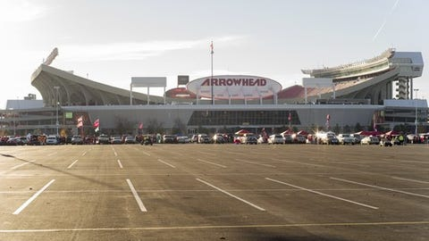 Overall view of Arrowhead Stadium before an NFL football game in Kansas City, Mo., Sunday, Nov. 6, 2016. (AP Photo/Nati Harnik)