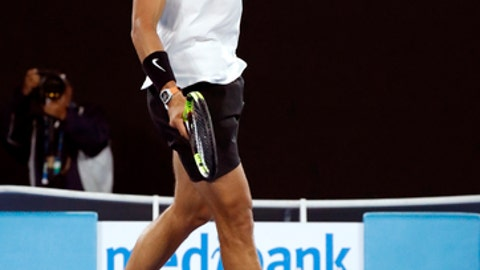 Spain's Rafael Nadal celebrates a point win over Canada's Milos Raonic during their quarterfinal at the Australian Open tennis championships in Melbourne, Australia, Wednesday, Jan. 25, 2017. (AP Photo/Kin Cheung)