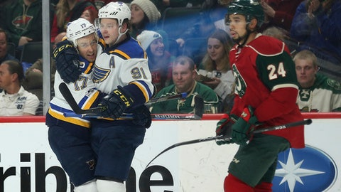 St. Louis Blues teammates Vladimir Tarasenko (91) and Jaden Schwartz (17) celebrate after Tarasenko scored a goal against the Minnesota Wild in the second period of an NHL hockey game Thursday, Jan. 26, 2017, in St. Paul, Minn. (AP Photo/Stacy Bengs)
