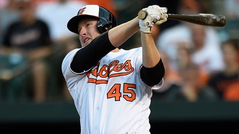 FILE - In this Aug. 18, 2016, file photo, Baltimore Orioles' Mark Trumbo follows through on a three-run home run against the Houston Astros during a baseball game in Baltimore. Reigning home run king Mark Trumbo has a new three-year contract worth $37.5 million, perhaps less than he wanted but one that should benefit him and the Orioles.  (AP Photo/Gail Burton, File)