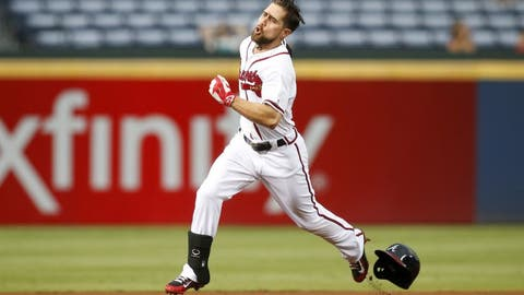 Sep 12, 2016; Atlanta, GA, USA; Atlanta Braves center fielder Ender Inciarte (11) runs to third on a triple against the Miami Marlins in the first inning at Turner Field. Mandatory Credit: Brett Davis-USA TODAY Sports