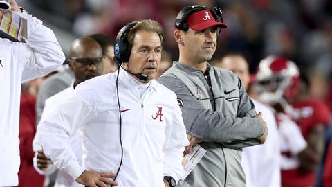 TAMPA, FL - JANUARY 09:  Head coach Nick Saban (L) and offensive coordinator Steve Sarkisian of the Alabama Crimson Tide stand on the sideline during the second half of the 2017 College Football Playoff National Championship Game against the Clemson Tigers at Raymond James Stadium on January 9, 2017 in Tampa, Florida.  (Photo by Tom Pennington/Getty Images)