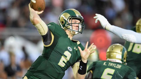 Aug 27, 2016; Loganville, GA, USA; Grayson Rams quarterback Chase Brice (2) passes against the IMG Academy during the second half in a high school football duel of top ranked teams at Grayson Community Stadium. IMG Academy defeated the Grayson Rams 26-7. Mandatory Credit: Dale Zanine-USA TODAY Sports