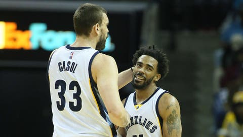 Jan 20, 2017; Memphis, TN, USA; Memphis Grizzlies center Marc Gasol (33) celebrates with guard Mike Conley (11) during the first quarter Sacramento Kings at FedExForum. Mandatory Credit: Nelson Chenault-USA TODAY Sports