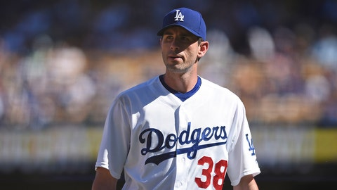 25 September 2016: Los Angeles Dodgers Pitcher Brandon McCarthy (38) [5326] exits the game during a Major League Baseball game between the Colorado Rockies and the Los Angeles Dodgers at Dodger Stadium in Los Angeles, CA. (Photo by Chris Williams/Icon Sportswire via Getty Images)