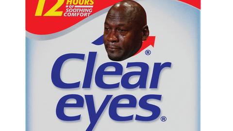 Crying Jordan tear drops ad