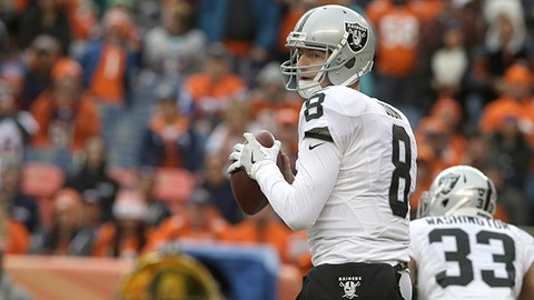 Oakland Raiders quarterback Connor Cook looks to pass against the Denver Broncos in the first half of an NFL football game, Sunday, Jan. 1, 2017, in Denver. (AP Photo/Joe Mahoney)