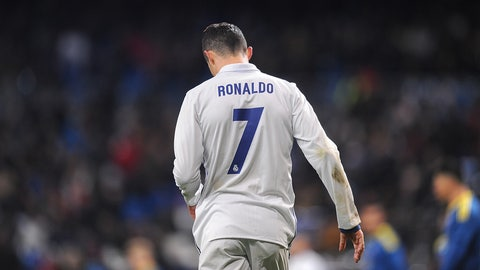 MADRID, SPAIN - JANUARY 18:  Cristiano Ronaldo of Real Madrid looks down during the Copa del Rey Quarter Final, First Leg match between Real Madrid CF and  Celta Vigo at Bernabeu on January 18, 2017 in Madrid, Spain.  (Photo by Denis Doyle/Getty Images)