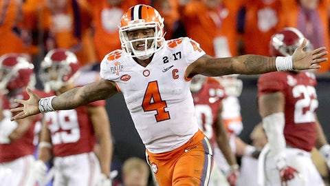 TAMPA, FL - JANUARY 09:  Deshaun Watson #4 of the Clemson Tigers celebrates after throwing a 2-yard game-winning touchdown pass during the fourth quarter against the Alabama Crimson Tide to win the 2017 College Football Playoff National Championship Game 35-31 at Raymond James Stadium on January 9, 2017 in Tampa, Florida.  (Photo by Streeter Lecka/Getty Images)