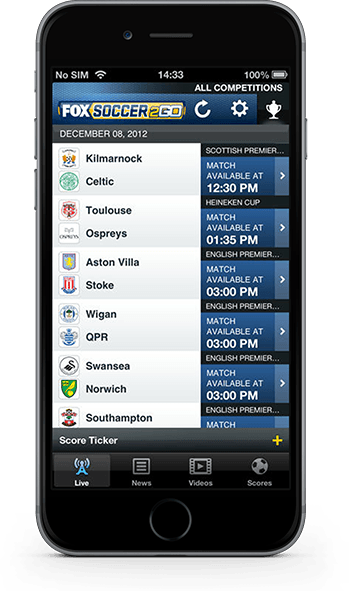 FOX Soccer 2GO iPhone app screenshot