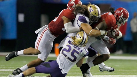 Over/under metric tons of human wreckage Bo Scarbrough will leave in his wake