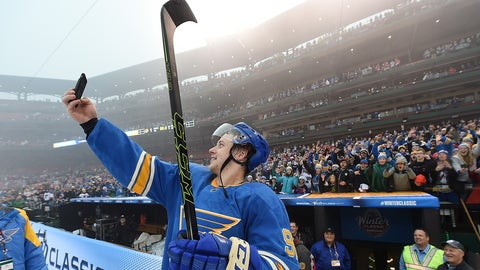 ST LOUIS, MO - JANUARY 02:  Vladimir Tarasenko #91 of the St. Louis Blues takes a selfie photo after the 2017 Bridgestone NHL Winter Classic at Busch Stadium on January 2, 2017 in St Louis, Missouri. The Blues defeated the Blackhawks 4-1.  (Photo by Brian Babineau/NHLI via Getty Images)