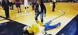 Joanna Jedrzejczyk squared off with the Nuggets mascot