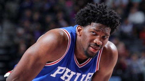 SACRAMENTO, CA - DECEMBER 26: Joel Embiid #21 of the Philadelphia 76ers looks on during the game against the Sacramento Kings on December 26, 2016 at Golden 1 Center in Sacramento, California. NOTE TO USER: User expressly acknowledges and agrees that, by downloading and or using this photograph, User is consenting to the terms and conditions of the Getty Images Agreement. Mandatory Copyright Notice: Copyright 2016 NBAE (Photo by Rocky Widner/NBAE via Getty Images)