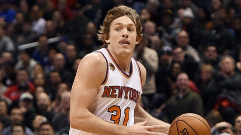 MILWAUKEE, WI - JANUARY 06:  Ron Baker #31 of the New York Knicks drives to the basket during a game against the Milwaukee Bucks at BMO Harris Bradley Center on January 6, 2017 in Milwaukee, Wisconsin.  NOTE TO USER: User expressly acknowledges and agrees that, by downloading and or using this photograph, User is consenting to the terms and conditions of the Getty Images License Agreement.  (Photo by Stacy Revere/Getty Images)