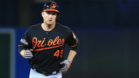 TORONTO, ON - OCTOBER 04:  Mark Trumbo #45 of the Baltimore Orioles runs the bases after hitting a two-run home run in the fourth inning against the Toronto Blue Jays during the American League Wild Card game at Rogers Centre on October 4, 2016 in Toronto, Canada.  (Photo by Vaughn Ridley/Getty Images)