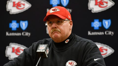 Kansas City Chiefs head coach Andy Reid speaks during a news conference after an NFL divisional playoff football game against the Pittsburgh Steelers Sunday, Jan. 15, 2017, in Kansas City, Mo. The Steelers won 18-16. Reid doesn't believe the holding penalty on left tackle Eric Fisher that cost Kansas City a tying 2-point conversion against Pittsburgh on Sunday night should have been called. (AP Photo/Ed Zurga, File)