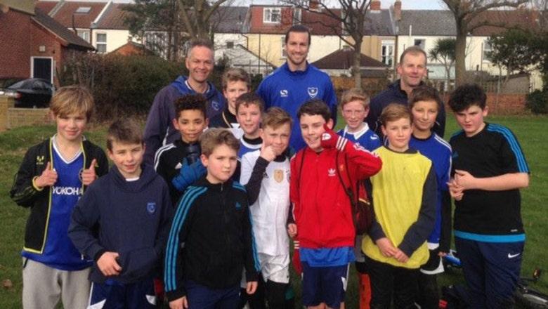After joke invite on Twitter, Portsmouth player crashes U-12 training for best surprise