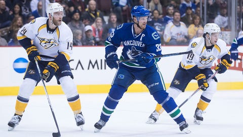 Vancouver Canucks' Henrik Sedin, center, of Sweden, skates between Nashville Predators' Mattias Ekholm, left, of Sweden, and Calle Jarnkrok, of Sweden, during the first period of an NHL hockey game in Vancouver, B.C., on Tuesday January 17, 2017. THE CANADIAN PRESS/Darryl Dyck/The Canadian Press via AP)