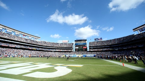 SAN DIEGO, CA - SEPTEMBER 28: A view of the field during the game between the Jacksonville Jaguars and the San Diego Chargers at Qualcomm Stadium on September 28, 2014 in San Diego, California.  The Chargers won 33-14.  (Photo by Stephen Dunn/Getty Images)