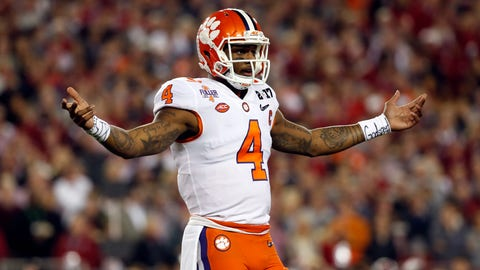 Jan 9, 2017; Tampa, FL, USA;  Clemson Tigers quarterback Deshaun Watson (4) reacts during the first quarter against the Alabama Crimson Tide in the 2017 College Football Playoff National Championship Game at Raymond James Stadium. Mandatory Credit: Kim Klement-USA TODAY Sports