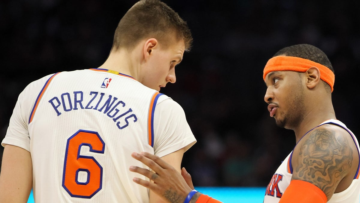 Kristaps Porzingis comes to Carmelo Anthony's defense amid trade rumors