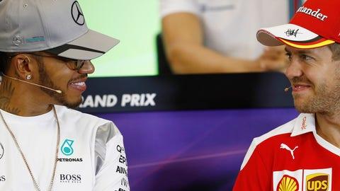 Future teammates? Lewis Hamilton (L) and Sebastian Vettel (R) seen ahead of the 2016 United States Grand Prix in Austin. (Photo: Glenn Dunbar/LAT Photographic)