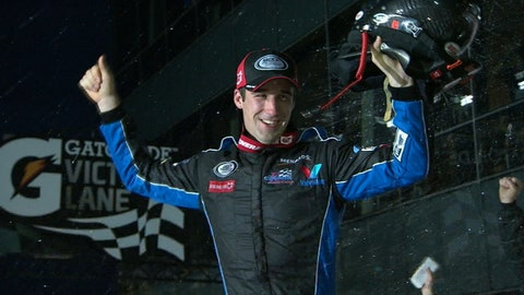 Austin Theriault celebrates in Victory Lane.