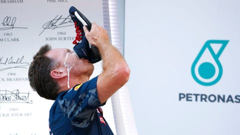 "Christian Horner hopes to get up on the podium more in 2017, although we're not sure if he's looking forward to more ""Shoeys."" (Photo: LAT Photographic)"