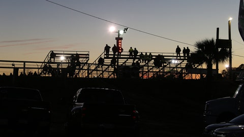 Photo of the grandstand at the Volusia Speedway Park on Feb 13, 2014. (Photo by Jim Fluharty/NASCAR Illustrated/Sporting News via Getty Images)