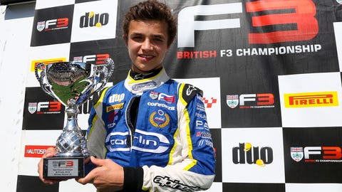 Lando Norris seen celebrating a race win during the 2016 BRDC F3 Championship. (Photo: LAT Photographic)