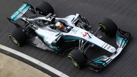 Lewis Hamilton turned the first laps on track in the new Mercedes W08. (Photo: LAT Photographic)