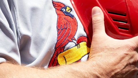 Baseball: Closeup of St Louis Cardinals team logo on jersey during national anthem before game vs Washington Nationals at Nationals Park. Washington, DC 4/24/2013 CREDIT: Simon Bruty (Photo by Simon Bruty /Sports Illustrated/Getty Images) (Set Number: X156434 TK1 R1 F403 )
