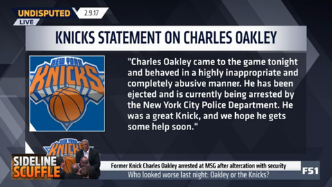 The Knicks advised Oakley to seek help in a statement released after the game