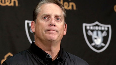 Oakland Raiders coach Jack Del Rio speaks during a news conference after the NFL football game between the Raiders and the Indianapolis Colts in Oakland Calif. Saturday Dec. 24 2016. The Raiders won 33-25