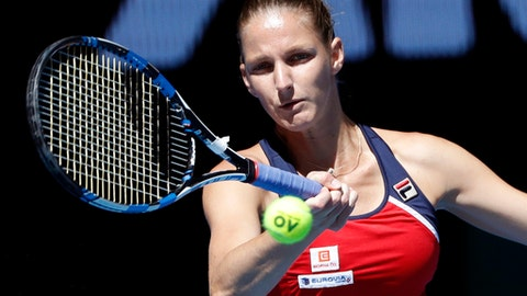 Karolina Pliskova of the Czech Republic makes a forehand return to Croatia's Mirjana Lucic-Baroni during their quarterfinal at the Australian Open tennis championships in Melbourne, Australia, Wednesday, Jan. 25, 2017. (AP Photo/Dita Alangkara)