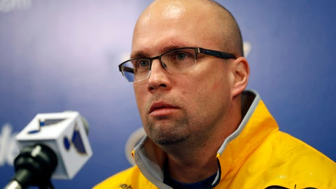 Mike Yeo listens to a question during a news conference after being named the new head coach of the St. Louis Blues Wednesday, Feb. 1, 2017, in St. Louis. Yeo replaces Ken Hitchcock who was fired by the team. (AP Photo/Jeff Roberson)