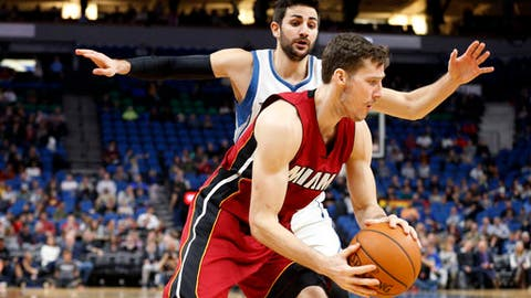 Miami Heat's Goran Dragic, right, of Slovenia, drives past Minnesota Timberwolves' Ricky Rubio of Spain during the second half of an NBA basketball game Monday, Feb. 6, 2017, in Minneapolis. The Heat won 115- 113. Dragic led the Heat with 33 points. (AP Photo/Jim Mone)