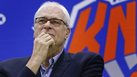 FILE - In this July 8, 2016, file photo, New York Knicks president Phil Jackson answers questions during a news conference at the team's training facility in Greenburgh, N.Y. Jackson took what appeared to be another dig at forward Carmelo Anthony in a tweet on Feb. 7, 2017. (AP Photo/Julie Jacobson, File)