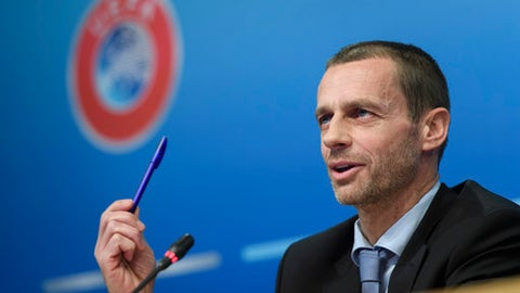 UEFA president Aleksander Ceferin speaks during a news conference after the meeting of the UEFA Executive Committee at the UEFA headquarters, in Nyon, Switzerland, Thursday, Feb. 9, 2017. Ceferin said Europe will formally ask FIFA for at least 16 places in the expanded 48-team World Cup. (Martial Trezzini/Keystone via AP)